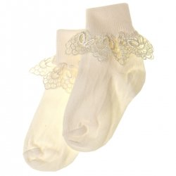 Guipure Lace Girls Frilly Lace Ivory Socks