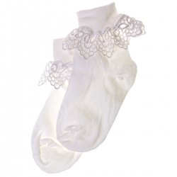 Guipure Lace Girls White Frilly Lace Socks