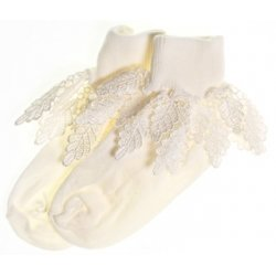 Girls ivory frilly socks with Guipure lace frills