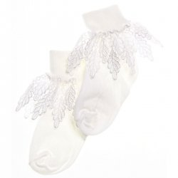 Girls white frilly socks with Guipure lace frills