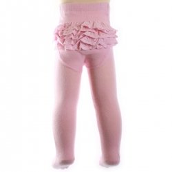 All in one baby girls pink cotton tights with frilly knickers
