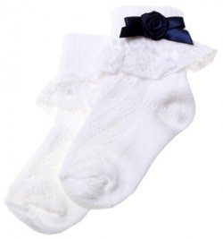 Frilly lace cotton rich girl white socks with navy rosebud and bow