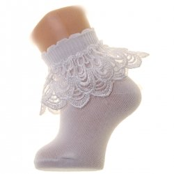 Girls Ivory Frilly Socks in Pearl Shape Guipure Lace