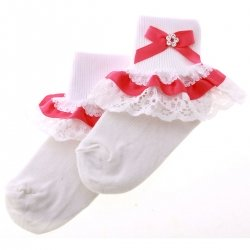 Fuchsia Satin Lace With Diamantes Girls White Frilly Socks With Bow