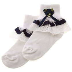 Navy Satin Lace With Rosebuds Girls Frilly White Socks