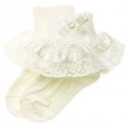 Ivory satin lace with diamante girls frilly ivory socks