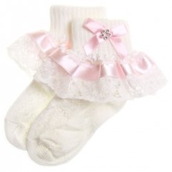 Pink satin lace with diamante girls frilly white socks