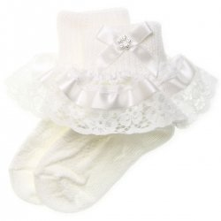 White satin lace with diamante girls frilly white socks