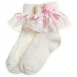 girls frilly white socks Pink satin lace with rosebuds