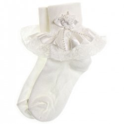 girls frilly white socks white satin lace with rosebuds