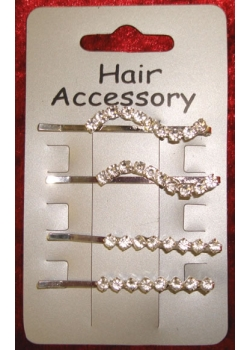4 Hair clip set with 2 styles diamantes in 2 styles
