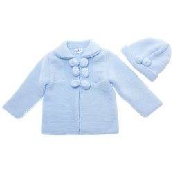 Baby Blue Knitted Coat With Hat Decorated by Pom Pom