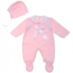 8225332cb6cd Baby Girls Pink Knitted All In One With White Lace And Bonnet