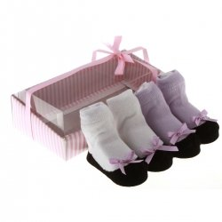 1170 Cute baby girls lilac white ballet sock shoes in gift pack
