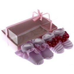 Cute baby girls lilac white frilly sock shoes in gift pack