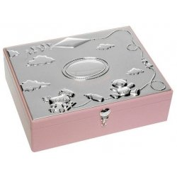 Silver plated baby girls large keepsake box in pink