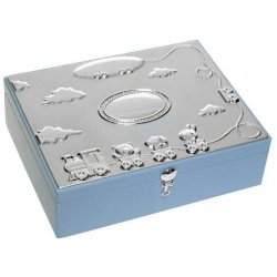 Silver plated baby boys large keepsake box in blue