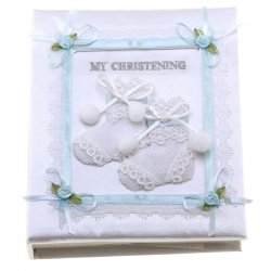 Baby boys soft christening album book