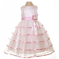 Special Occasions Girls Dress In Ivory And Pink