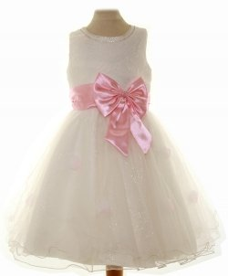 Special Occasions Girls Dress In Ivory With Pink Bow