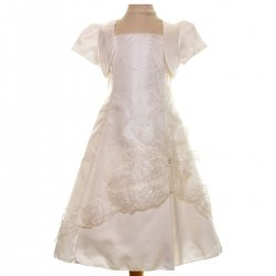 Girls Ivory Dress With Ivory Bolero