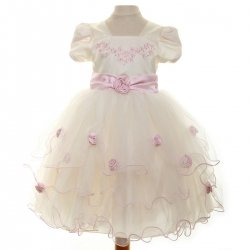 Special Occasions Girls Dress In Ivory With Pink Roses