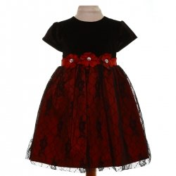 SALE Small Girls Burgundy Black Lacy Dress With Bow