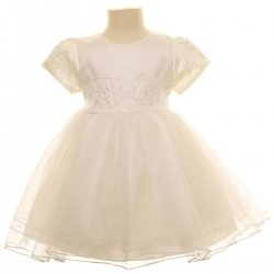 Special Occasions Ivory Christening Dress  With Flowers and Sequins