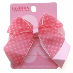 Satin Polka Dots Bow Fuchsia on Pink