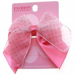 Satin Polka Dots Bow Pink on Fuchsia