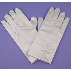 White Communion Gloves with a Cross