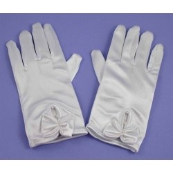 Kids White Satin Bow Communion Gloves