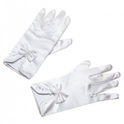 Communion White Gloves in Satin Decorated With Bows And Beads