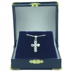 Sparkling Cubic Zirconia Crucifix Communion Pendant Necklace In Navy Gift Box
