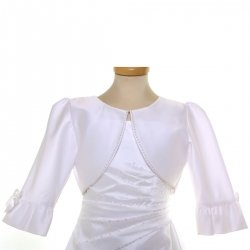 White Bolero Decorated By Beads And Bows