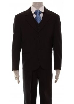 High Quality Boys Black Pinstripe Suit 3 Piece