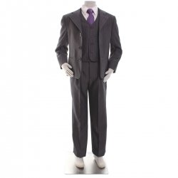 Boys grey pinstripe three piece suit