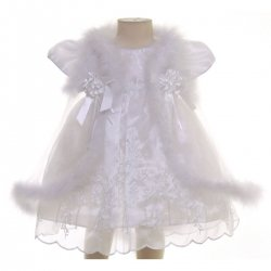 Fur Cape White or Ivory Christening Dress With Bonnet