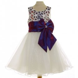 Ivory Dress With Purple Bow For Special Occasions