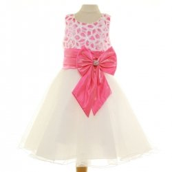 Ivory Dress Sales With Cerise Bow For Special Occasions