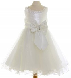 Ivory Dress With Ivory Bow For Special Occasions
