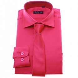 Boys Cerise Shirt With Tie Set