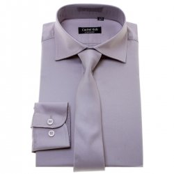 Boys Silver Grey Shirt With Tie Set