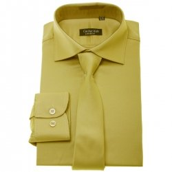Boys Dark Gold Shirt With Tie Set