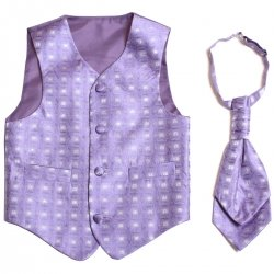 Boys wedding lilac waistcoat and cravat set
