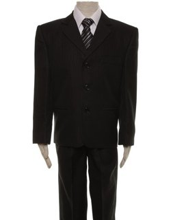 Boys Black Striped Suit Set Five Piece