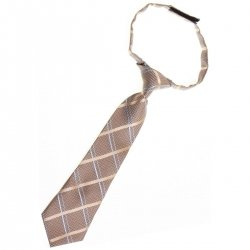 Brown with gold and blue stripes Baby and toddler tie pre tied for 2yrs to 6 yrs