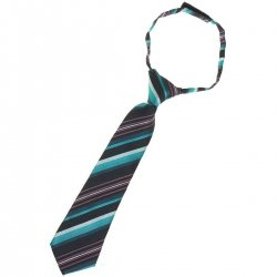 Baby and toddler boys tie for 2yrs to 6yrs pre tied in multi colour turquoise stripes