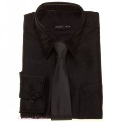 Black Shirt for Boys In Silky Sheen Fabric With  Matching Tie