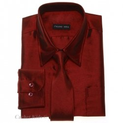 Boys Formal Shirt Boys Burgundy Shirt With Tie Silky Sheen Fabric